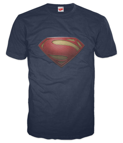 DC Man Of Steel Textured Logo Official Men's T-shirt (Navy) - Urban Species Mens Short Sleeved T-Shirt