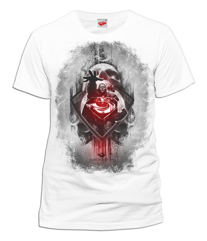 DC Man Of Steel Zod Skull Official Men's T-shirt (White) - Urban Species Mens Short Sleeved T-Shirt