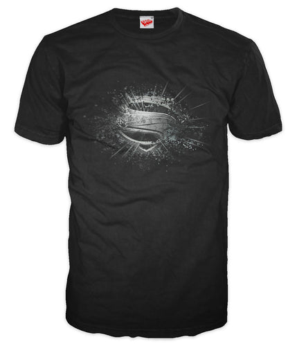 DC Man Of Steel Smashed Logo Official Men's T-shirt (Black) - Urban Species Mens Short Sleeved T-Shirt