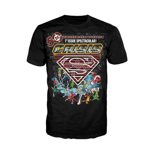 DC Comics Crisis Logo Justice League Official Men's T-shirt (Black) - Urban Species Mens Short Sleeved T-Shirt