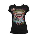 DC Comics Crisis Logo Justice League Official Women's T-shirt (Black) - Urban Species Ladies Short Sleeved T-Shirt