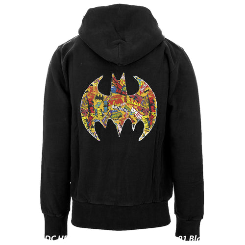 DC Comics Batman Comic Mash Logo Official Hoodie (Black) - Urban Species Mens Hoodie