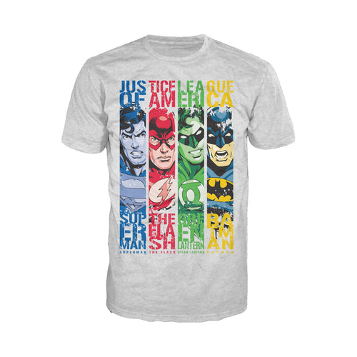 DC Comics Justice League Stripped Official Men's T-shirt (Heather Grey) - Urban Species Mens Short Sleeved T-Shirt