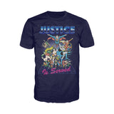 DC Comics Justice League Retro 80s Served Official Men's T-shirt (Navy)