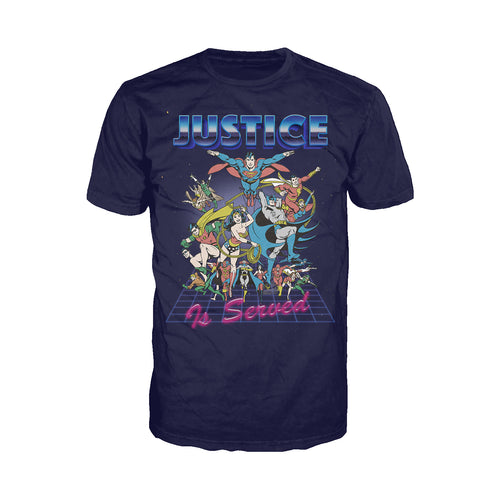 DC Comics Justice League Retro 80s Served Official Men's T-shirt (Navy) - Urban Species Mens Short Sleeved T-Shirt