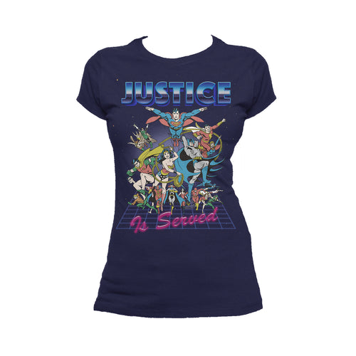 DC Comics Justice League Retro 80s Served Official Women's T-shirt (Navy) - Urban Species Ladies Short Sleeved T-Shirt