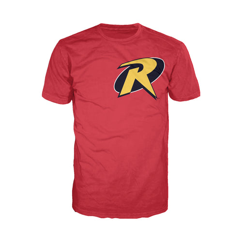 DC Comics Robin Logo Breast Official Men's T-shirt (Red) - Urban Species Mens Short Sleeved T-Shirt