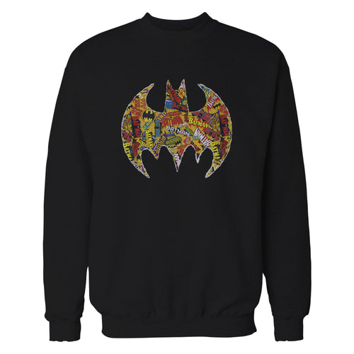 DC Comics Batman Comic Mash Logo Official Sweatshirt (Black) - Urban Species Mens Sweatshirt