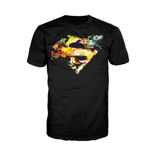 DC Comics Superman Logo Saturated Official Men's T-shirt (Black) - Urban Species Mens Short Sleeved T-Shirt