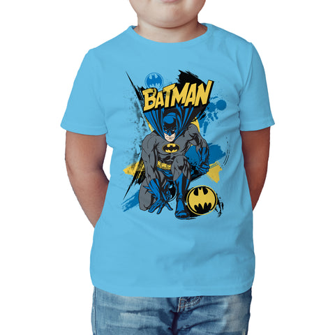 DC Comics Batman Crouch Official Kid's T-Shirt (Sky Blue)