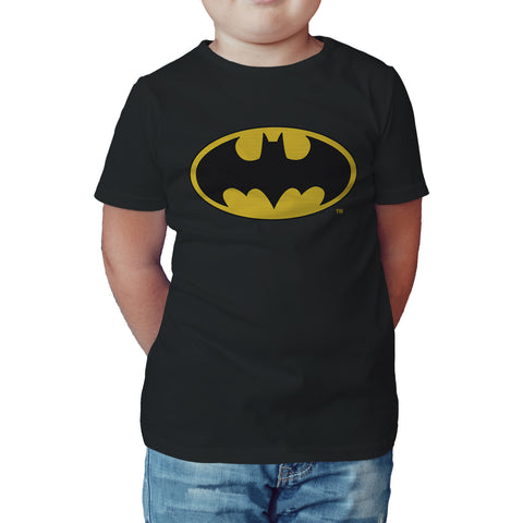 DC Comics Batman Logo Classic Official Kid's T-Shirt (Black) - Urban Species Kids Short Sleeved T-Shirt