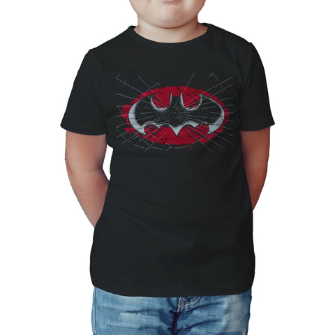 DC Comics Batman Logo Glass Official Kid's T-Shirt (Black) - Urban Species Kids Short Sleeved T-Shirt