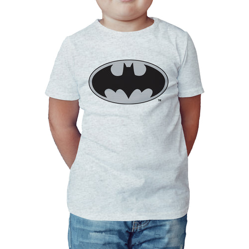 DC Comics Batman Logo Grey Official Kid's T-Shirt (Black) - Urban Species Kids Short Sleeved T-Shirt