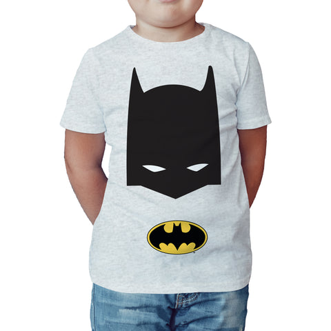 DC Comics Batman Logo Mask Official Kid's T-Shirt (Heather Grey) - Urban Species Kids Short Sleeved T-Shirt