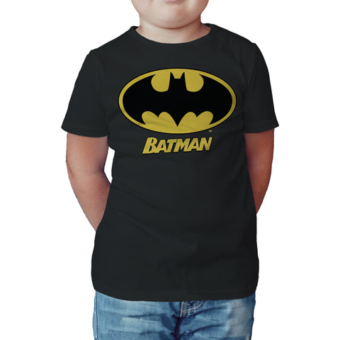 DC Comics Batman Logo Name Official Kid's T-Shirt (Black) - Urban Species Kids Short Sleeved T-Shirt