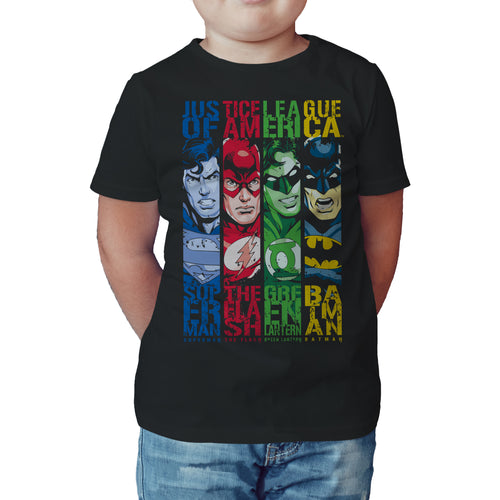 DC Comics Justice League Stripped Official Kid's T-Shirt (Black) - Urban Species Kids Short Sleeved T-Shirt