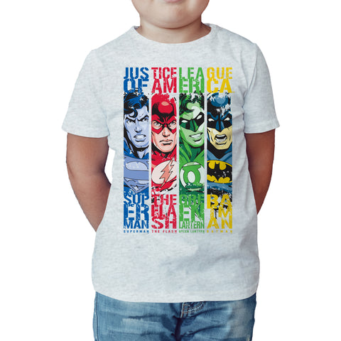 DC Comics Justice League Stripped Official Kid's T-shirt (Heather Grey) - Urban Species Kids Short Sleeved T-Shirt