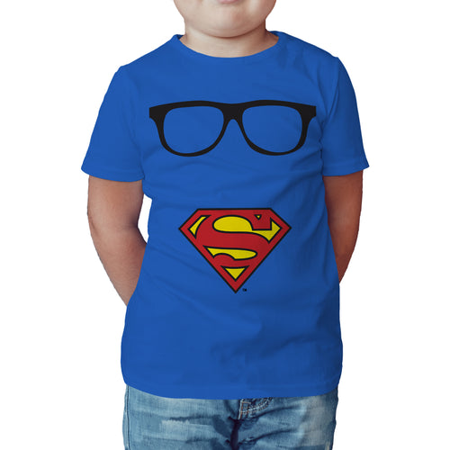 DC Comics Superman Logo Glasses Official Kid's T-Shirt (Royal Blue) - Urban Species Kids Short Sleeved T-Shirt