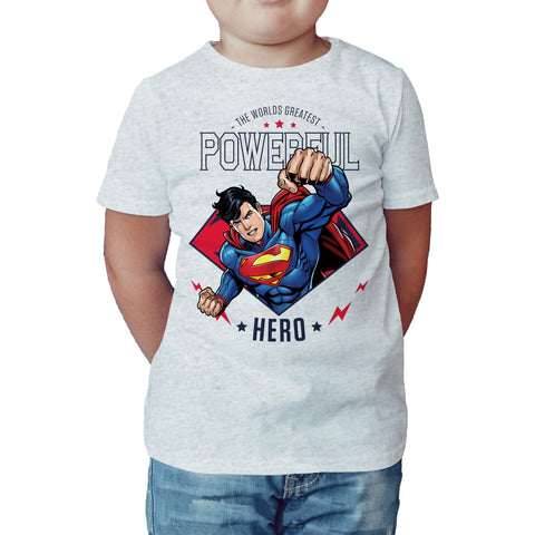 DC Comics Superman Power Official Kid's T-Shirt (Heather Grey) - Urban Species Kids Short Sleeved T-Shirt