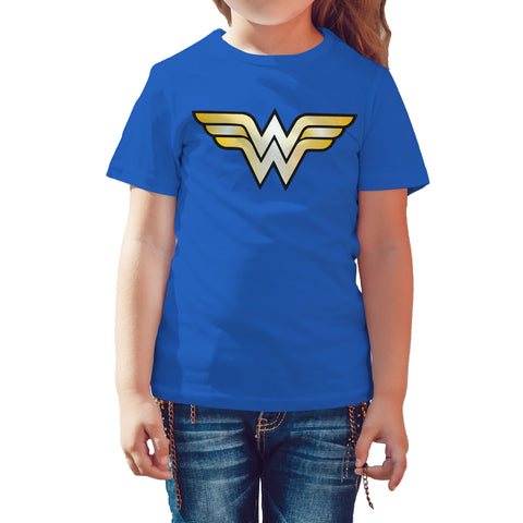DC Comics Wonder Woman Logo Classic Official Kid's T-shirt (Royal Blue) - Urban Species Kids Short Sleeved T-Shirt