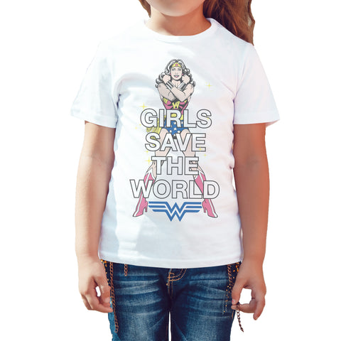 DC Comics Wonder Woman Girls Save World Official Kid's T-shirt (White) - Urban Species Kids Short Sleeved T-Shirt