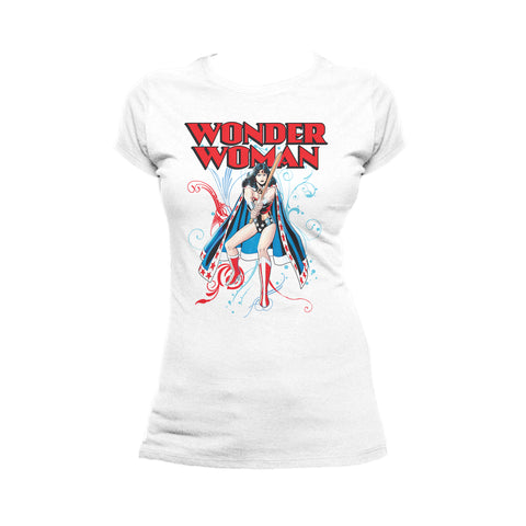 DC Comics Wonder Woman Splash Official Women's T-shirt (White) - Urban Species Ladies Short Sleeved T-Shirt