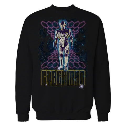 Doctor Who 80s Neon Cyberman Official Sweatshirt (Black) - Urban Species Mens Sweatshirt