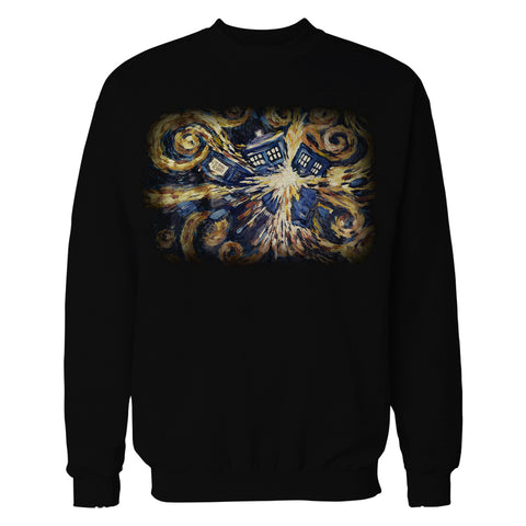 Cool New Doctor Who Art Tardis Van Gogh Official Sweatshirt (Black) - Urban Species Mens Sweatshirt