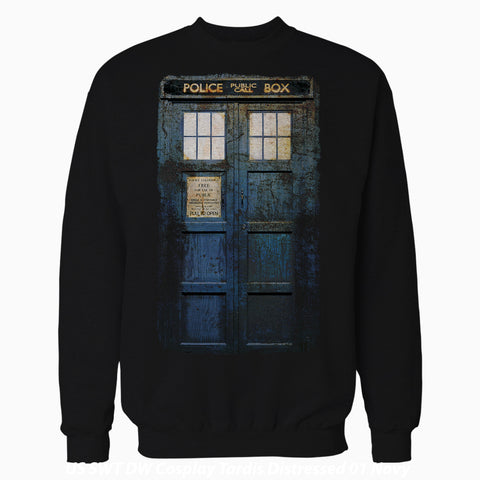 Cool New Doctor Who Cosplay Tardis Distressed Official Sweatshirt (Black) - Urban Species Mens Sweatshirt