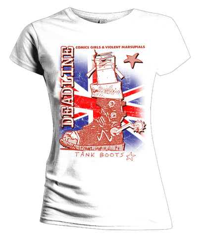 Deadline 0 Tank Boots Official Women's T-shirt (White) - Urban Species Ladies Short Sleeved T-Shirt