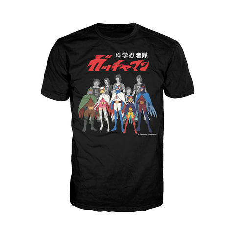 Gatchaman Alter Ego Line-Up Official Men's T-shirt (Black) - Urban Species Mens Short Sleeved T-Shirt
