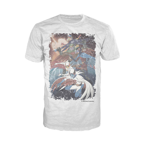 Gatchaman Planet Poster Distressed Official Men's T-shirt (White) - Urban Species Mens Short Sleeved T-Shirt