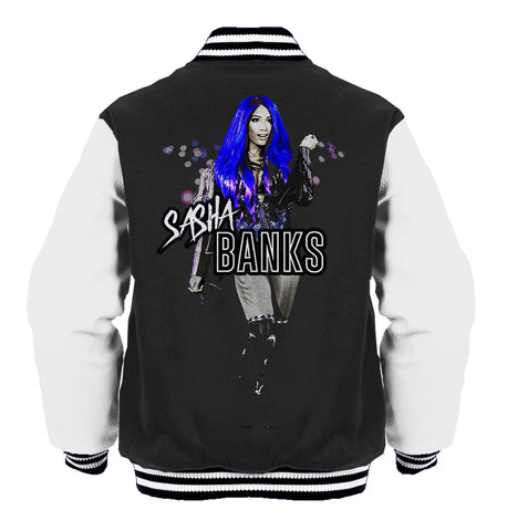 WWE  Sasha Banks Atomic Blue Official Varsity Jacket (Black) - Urban Species Varsity Jacket