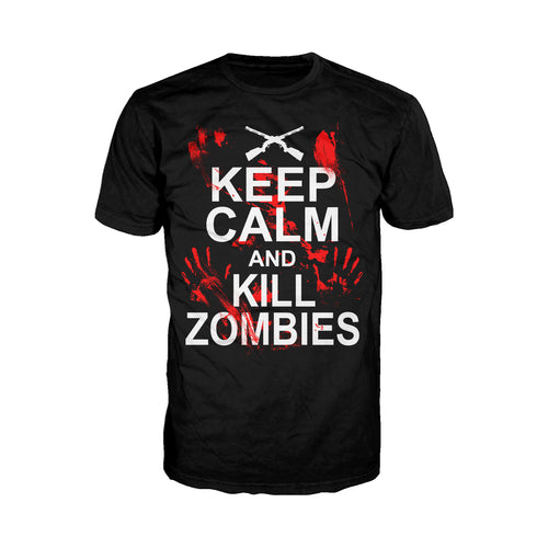 Cool New Keep Calm: Kill Zombies - Adult Joke T-shirt (Black) - Urban Species Mens Short Sleeved T-Shirt