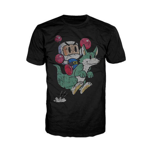 Bomberman Character Super 1993 Official Men's T-shirt (Black) - Urban Species Mens Short Sleeved T-Shirt
