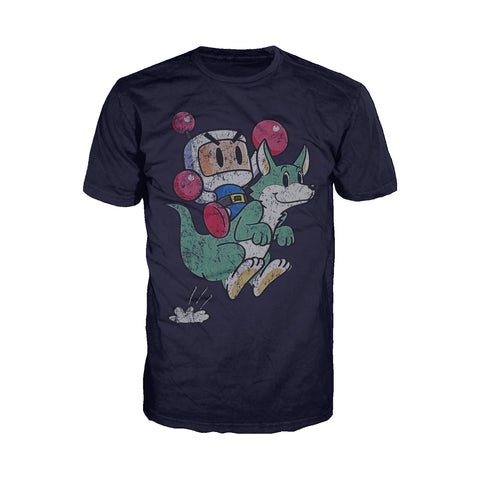 Bomberman Character Super 1993 Official Men's T-shirt (Navy) - Urban Species Men's T-shirt