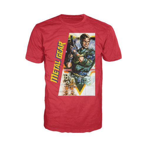 Metal Gear Box Art US Official Men's T-shirt (Red) - Urban Species Mens Short Sleeved T-Shirt