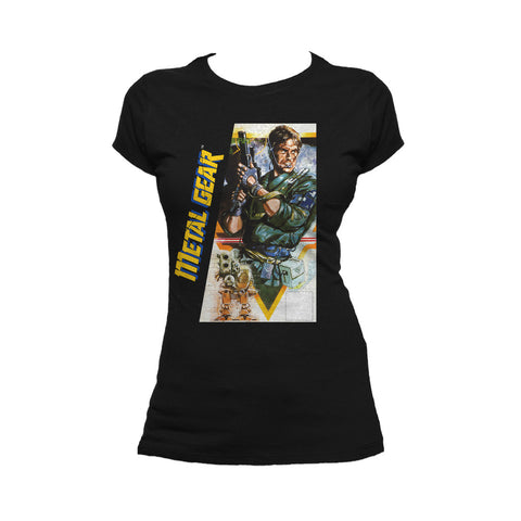 Metal Gear Box Art US Official Women's T-shirt (Black) - Urban Species Ladies Short Sleeved T-Shirt