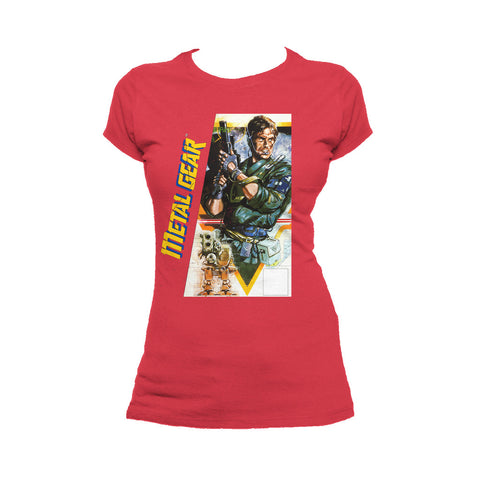 Metal Gear Box Art US Official Women's T-shirt (Red) - Urban Species Ladies Short Sleeved T-Shirt