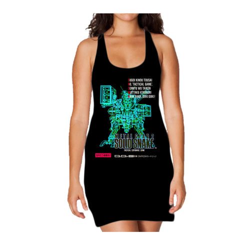 Metal Gear 2 Box Art Japan Official Women's Long Tank Dress (Black) - Urban Species Ladies Long Tank Dress