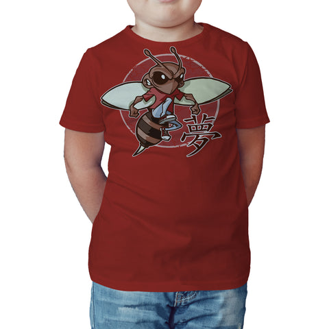 Urban Species Wrestling Daze Badge Kanji Official Kid's T-Shirt (Red) - Urban Species Kids Short Sleeved T-Shirt