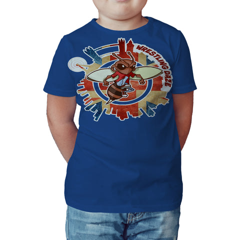 Urban Species Wrestling Daze Splash London Official Kid's T-Shirt (Royal Blue) - Urban Species Kids Short Sleeved T-Shirt