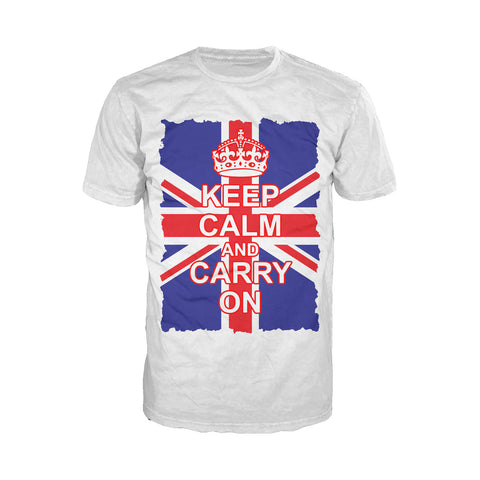 Cool New London Keep Calm Union Jack Men's T-Shirt (White) - Urban Species Mens Short Sleeved T-Shirt
