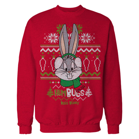 Cool New Looney Tunes Bugs Bunny Xmas HumBugs Official Men's Sweater (Red) - Urban Species Mens Sweatshirt