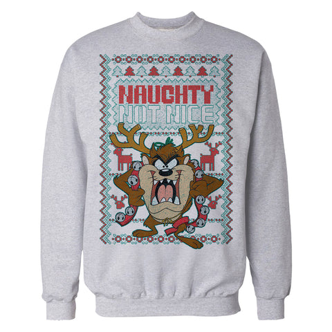Cool New Looney Tunes Tasmanian Devil Xmas Naughty Official Sweatshirt (Heather Grey) - Urban Species Mens Sweatshirt