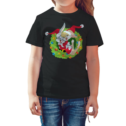 Cool New Looney Tunes Bugs Lola Bunny Xmas Santa Official Kid's T-Shirt (Black) - Urban Species Kids Short Sleeved T-Shirt