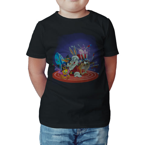 Cool New Looney Tunes Tooney Tunes American Holiday Official Kid's T-Shirt (Black) - Urban Species Kids Short Sleeved T-Shirt