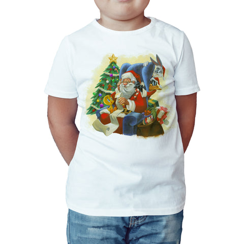 Looney Tunes Xmas Santa Official Kid's T-Shirt (White) - Urban Species Kids Short Sleeved T-Shirt