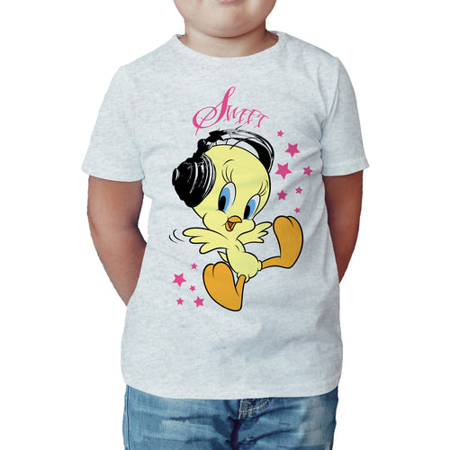 Looney Tunes Tweety Headphones Official Kid's T-Shirt (Heather Grey) - Urban Species Kids Short Sleeved T-Shirt