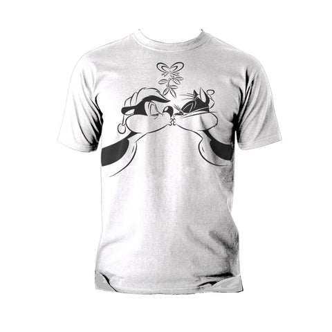 Looney Tunes Pepe Le Pew Xmas Kiss Official Men's T-shirt (White) - Urban Species Mens Short Sleeved T-Shirt